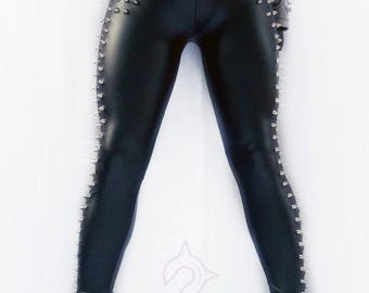 Metalhead Clothing, Heavy Metal Attire, Studded Style, Studded Black Leggings, Heavy Metal Leggings