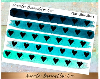 Heart Icons in Ocean Blue Paint Stroke Colors- Planner Stickers