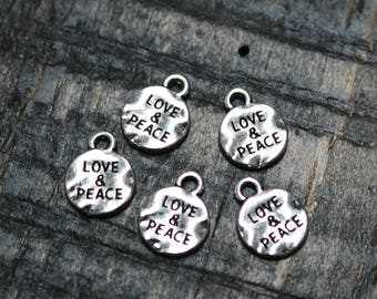 set of 50, love and peace charms, wholesale charms, antique silver, metal charms, round charms, disc charms, word tag charms,