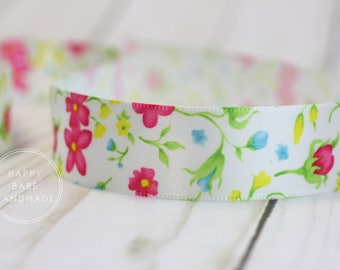 "Floral Ribbon, 7/8"", 5 Yards, Satin Floral Ribbon, Satin Ribbon, Spring Flowers, Pink Blue Yellow, Tea Party, Floral Wedding, Ribbon for Bow"