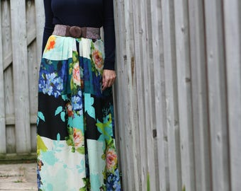 "1990s Skirt - Floral Maxi Skirt - Full Skirt - Pleated - Patchwork - Graphic - Boho Vintage Skirt - Anthropologie - Medium 28"" Waist"