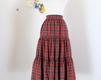 "1950s Skirt - Boho Plaid Midi - Red - Tiered - Peasant - Country - Coachella Festival - Union Label - Elastic Waist - 19""-32"" Size S/M"