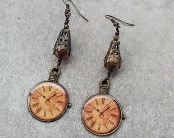 Clock Earrings- Steampunk Earrings- Wire Earrings- Wire Jewelry- Bronze Dangle Earrings- Handmade Jewelry