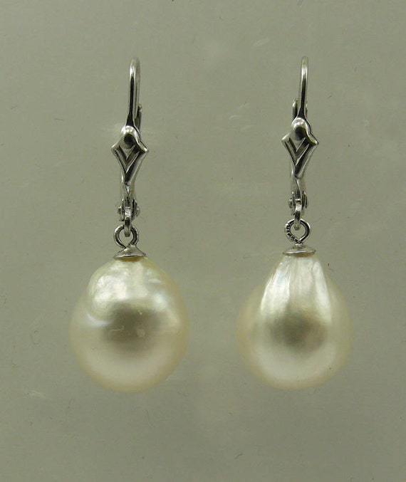 South Sea White Baroque Pearl Earrings 14k White Gold Leverback