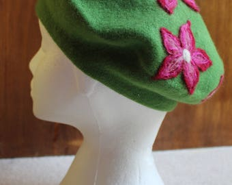 Apple Green Beret With Maroon/Bright And Light Pink Flowers