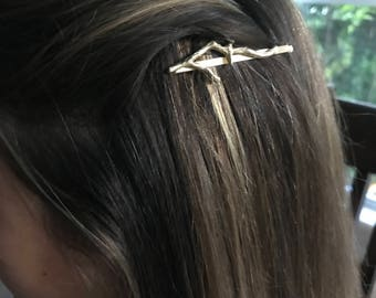 Matte gold branch hair pin