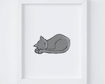 SleepyKitty, Art for kid's Spaces, Nursery Art