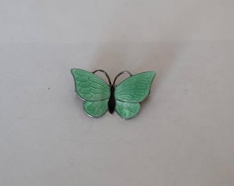 Volmer Bahner Green Enamel and Sterling Butterfly Brooch