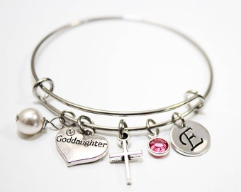 Goddaughter gifts etsy goddaughter bracelet goddaughter jewelry goddaughter gift goddaughter bangle goddaughter cross bracelet negle Choice Image