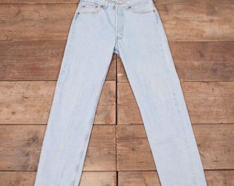 "Mens Vintage Levis Red Tab 501 Pale Blue Jeans 32"" x 32"" R6985"
