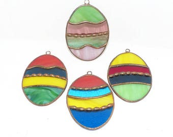 Stained Glass Eggs  Handcrafted - 1416