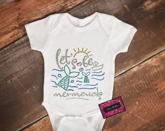 Glitter Baby Onesie - Lets Be Mermaids