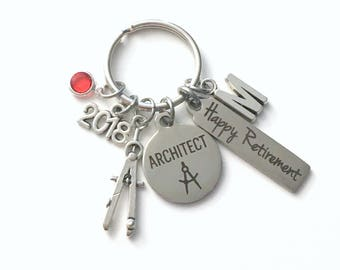 Retirement Gift for Architect Key Chain, Compass Keychain, Drafting Keyring, 2018 him her women Men Coworker Boss Firm Employee professional