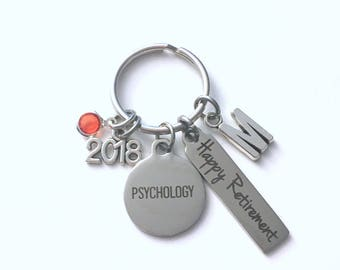 Psychology Retirement Present, 2018 Psychologist Keychain, Gift for Women or Men Retire, Key Chain Keyring him her Personalized Custom 2017