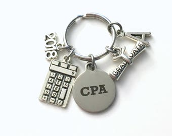 CPA Graduation Key chain, 2018 2017 Chartered Professional Accountant Present Keychain Gift for Grad Keyring Initial present him her jewelry