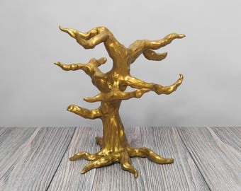 Gold Sculpted Tree for Ornaments or Jewelry Display