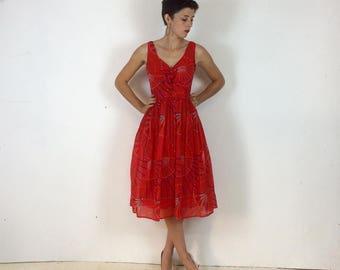 1970s Summer Sleeveless Geometric Print Red dress