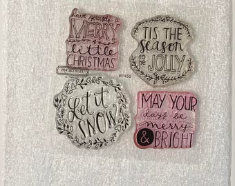 B1455 / Be Jolly / Stamp Set / Close To My Heart / CTMH / Acrylic Stamp Set / Clear Stamp Set / Christmas / Let It Snow / Merry & Bright