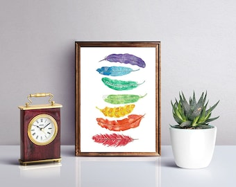 Feather Watercolor Print, Chakra Feathers, Feather Watercolor, Rainbow Feathers, Rainbow, Feathers, Watercolor Art, Watercolor Feathers