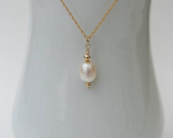 Byzantine Gold Freshwater Pearl Necklace - 14K Gold Filled Chain with an Ivory White Freshwater Pearl Drop in a Byzantine Style