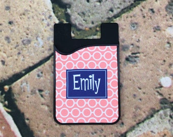 Retro Linked Cell Phone Card Holder Caddy Phone Wallet - Custom Design Monogrammed Personalized Gifts - ID Credit Card iPhone