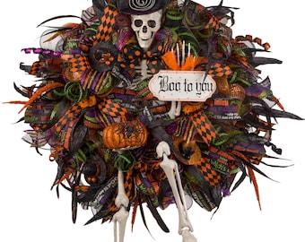 Halloween Wreath, Halloween Skelton Wreath, Halloween Door Wreath, Skelton Wreath, Front Door Wreath, Halloween Decoration, Deluxe Halloween