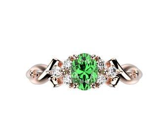 Modern 14K Rose Gold Emerald Engagement Ring Simple Green