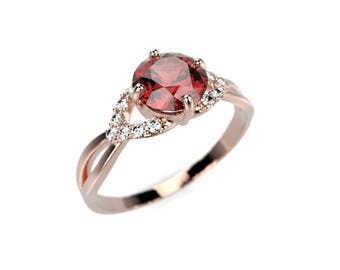 Garnet Engagement Ring Rose Gold Engagement Ring Red Gemstone Engagement Ring Gold Garnet Ring January Birthstone Garnet Rose Gold Ring