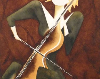 "Original Mid Century Modern Abstract Watercolor Lady at Cello ""More Music"" Series Signed Script Top Left Portland OR Artist Suzie Spaggiari"