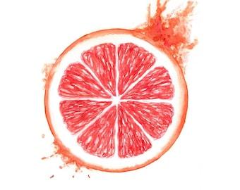 watercolor grapefruit print watercolor fruit print grapefruit painting citrus fruit art citrus print kitchen wall decor grapefruit slice
