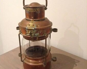 Antique ship lamp in copper/brass