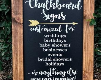 Custom Chalkboard Signs | Chalkboard Sign | Wedding Chalkboard | Framed Chalkboard | Welcome Sign | Sign for Business | Saying on Chalkboard