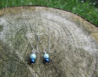 Blue earrings , Silver earrings , Kidney wire earrings , Silver plated earrings , Glass pearl bead earrings , Gifts for her