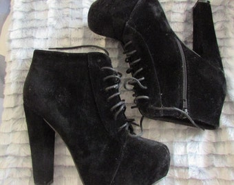 Black Suede Platform Lace Up Ankle Boots Booties