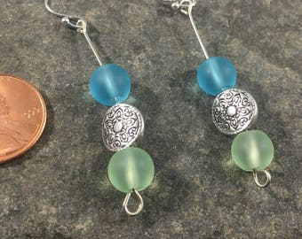 Blue and green opaquesilver embellished  beaded dangle earrings