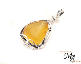 Amber stone Pendant Silver sterling 13824 AUTHOR'S +Certificate myamber.eu