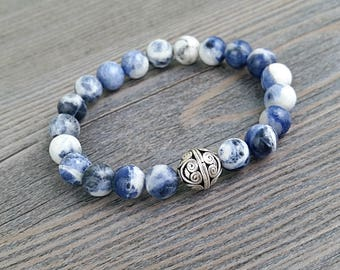 8mm sodalite stones bracelet with silver pearl from Bali