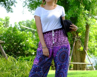 flower pants hippie pants hobo pants harem pants unisex pink-blue