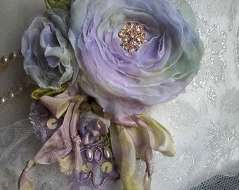 mauve floral posy brooch , hair accessory, mother of the bride, shabby chic brooch, romantic flower pin, floral corsage, wedding jewelry,