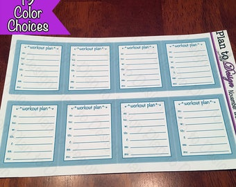 Workout Plan Small Sidebar Stickers (8) made for 2017-18 Erin Condren Life Planner and Happy Planner