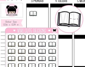 Kawaii Book Planner Stickers, Study Stickers, Reading Stickers, Book Stickers, School Stickers, Open Book Stickers, Library Stickers  | 004