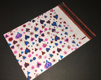 50 12x15.5 Designer Poly Mailers BLUE HEARTS Valentine Envelopes Shipping Bags