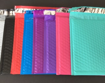 50 YOU CHOOSE 6x9 Bubble Mailers Teal Black Pink Purple Red Blue White Size 0 Self Sealing Shipping Envelopes Easter