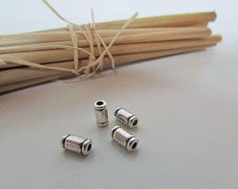 10 Pearl tube 6 x 3 mm silver - hole 1 mm - 632