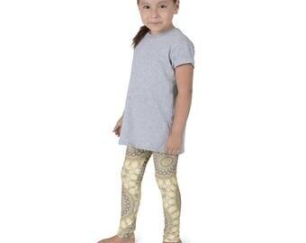 Funky and Fun Leggings for Girls, Kids Yoga Leggings, Mustard Yellow and Gray Children's Activewear