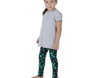 Kids Alien Leggings, Girls Outer Space Yoga Pants, Night Sky Leggings for Children