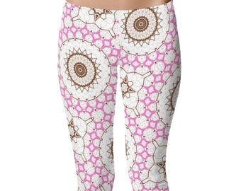 Pattern Leggings for Women, Capris, Printed Yoga Pants, Pink and Brown Mandala Art Leggings