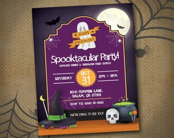 Halloween Party Invitation, Halloween Invites, Halloween Party Flyer, Spooktacular Party Invite, Halloween Printable Invite