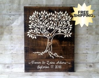 Wedding Guest Book, Tree, Thumbprint, Family Tree, Wedding, Rustic