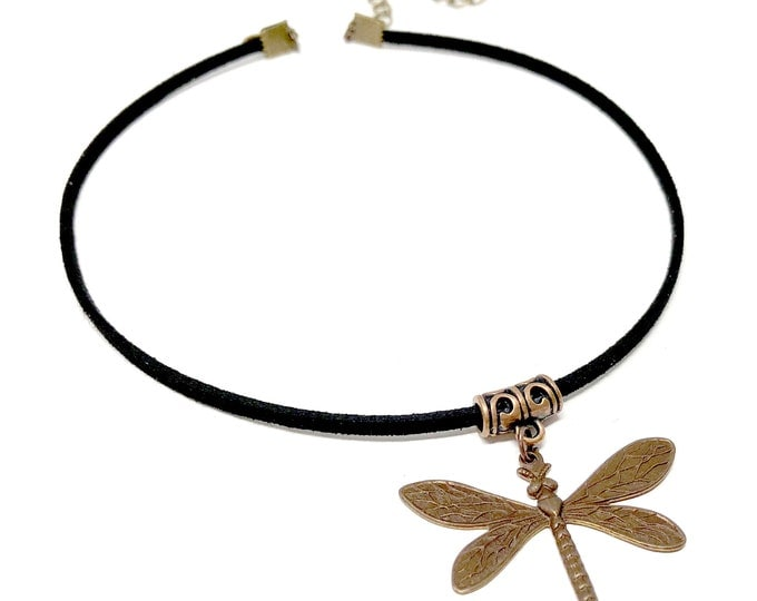 DRAGONFLY: copper and faux suede choker